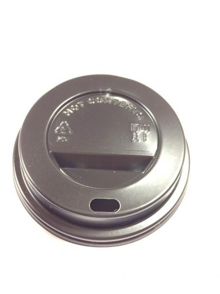 Couvercles noirs pour gobelets en carton diamètre 80mm